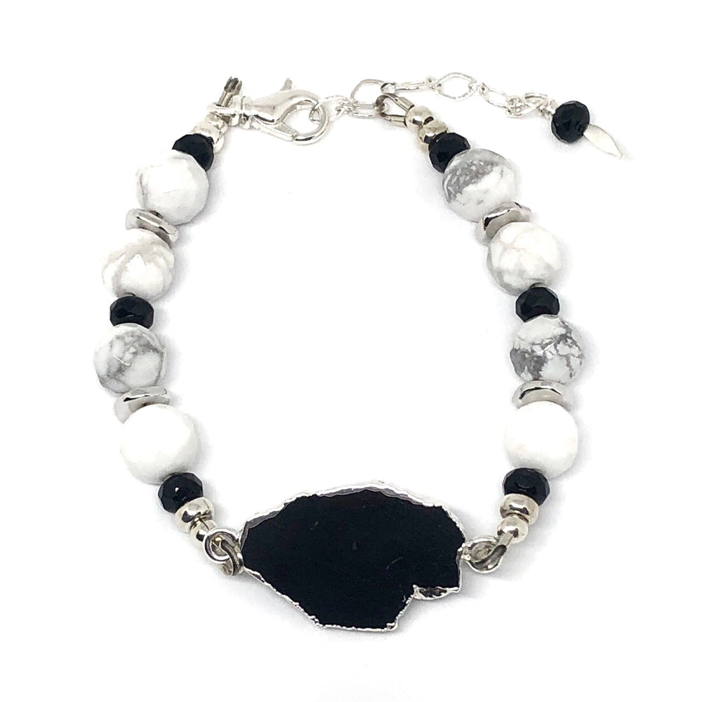 Black, White, Gray, and Silver Beaded Bracelet with Black Tourmaline Focal