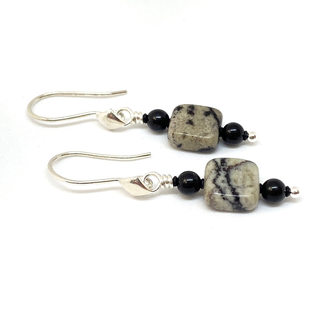 Black and Beige Small Dangle Earrings with Sterling-Silver Earwires
