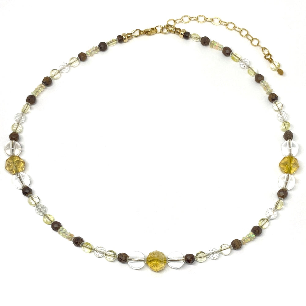 Yellow and Clear Gemstone Beaded Adjustable Layering Necklace