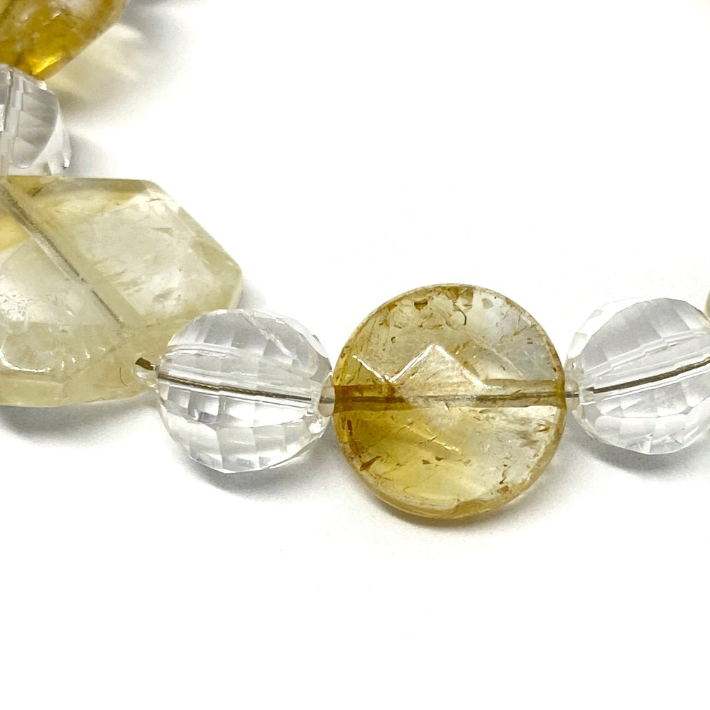 Yellow and Clear Gemstone Beaded Adjustable Bracelet