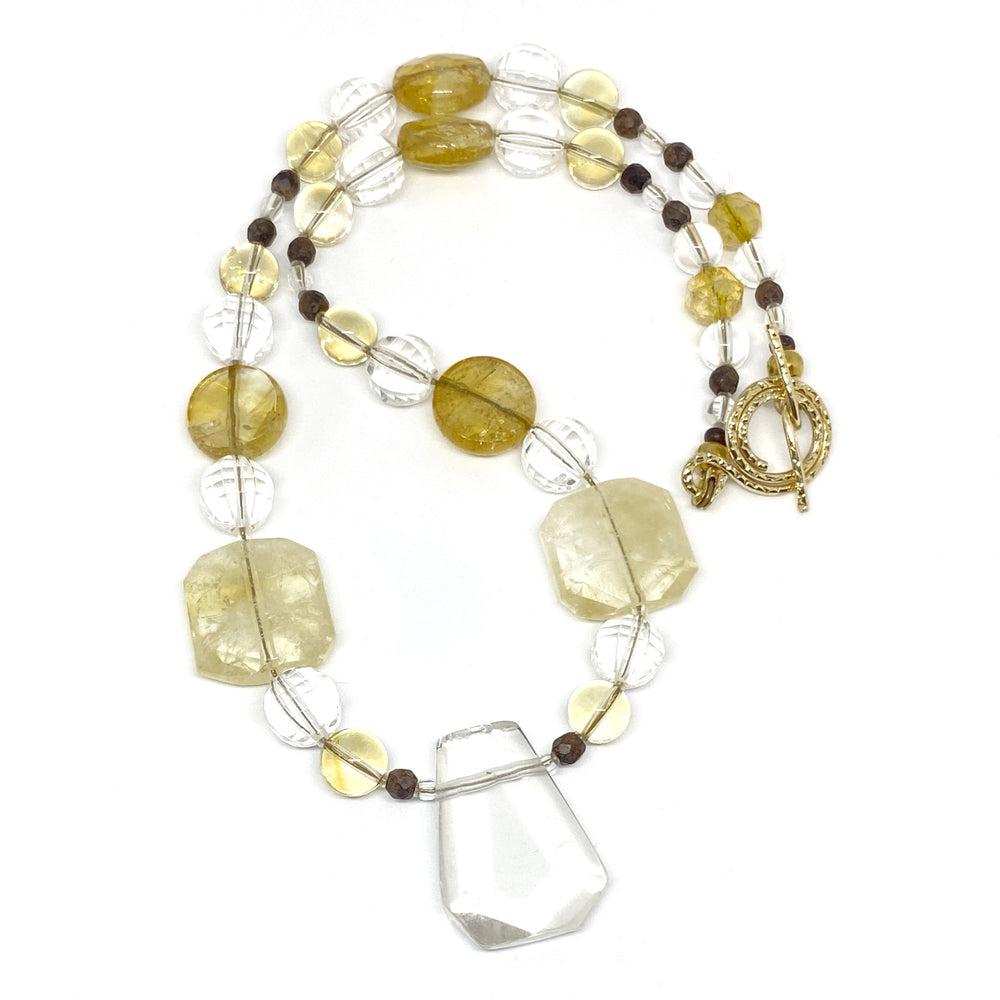 Yellow and Clear Gemstone Beaded Necklace with Focal Bead
