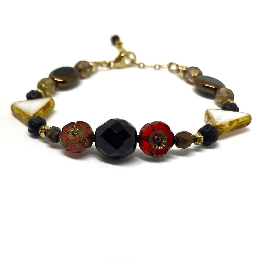 Orange-Red, Black, Brown, White, and Golden Beaded Bracelet