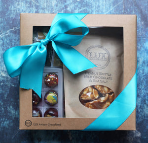 Six Piece Bonbon, Peanut Brittle or Toffee, and Chocolate Squares Gift Box
