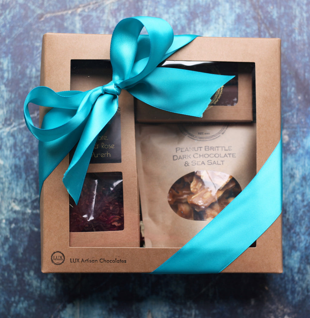 Loose Leaf Tea, Six Piece Sea Salt Caramels, and Peanut Brittle or Toffee Gift Box