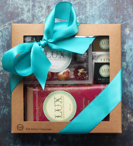 Twelve Piece Bonbon or Sea Salt Caramels, Artisanal Bars, and Chocolate Squares Gift Box
