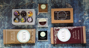 Two Artisanal Chocolate Bars, 6 Piece Bonbon, 6 Piece Sea Salt Caramels, and Squares Gift Box
