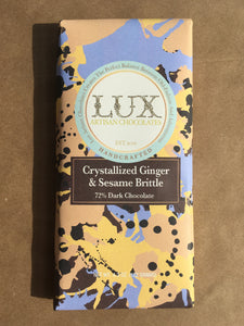 72% Dark Chocolate Bar Crystallized Ginger & Sesame Brittle