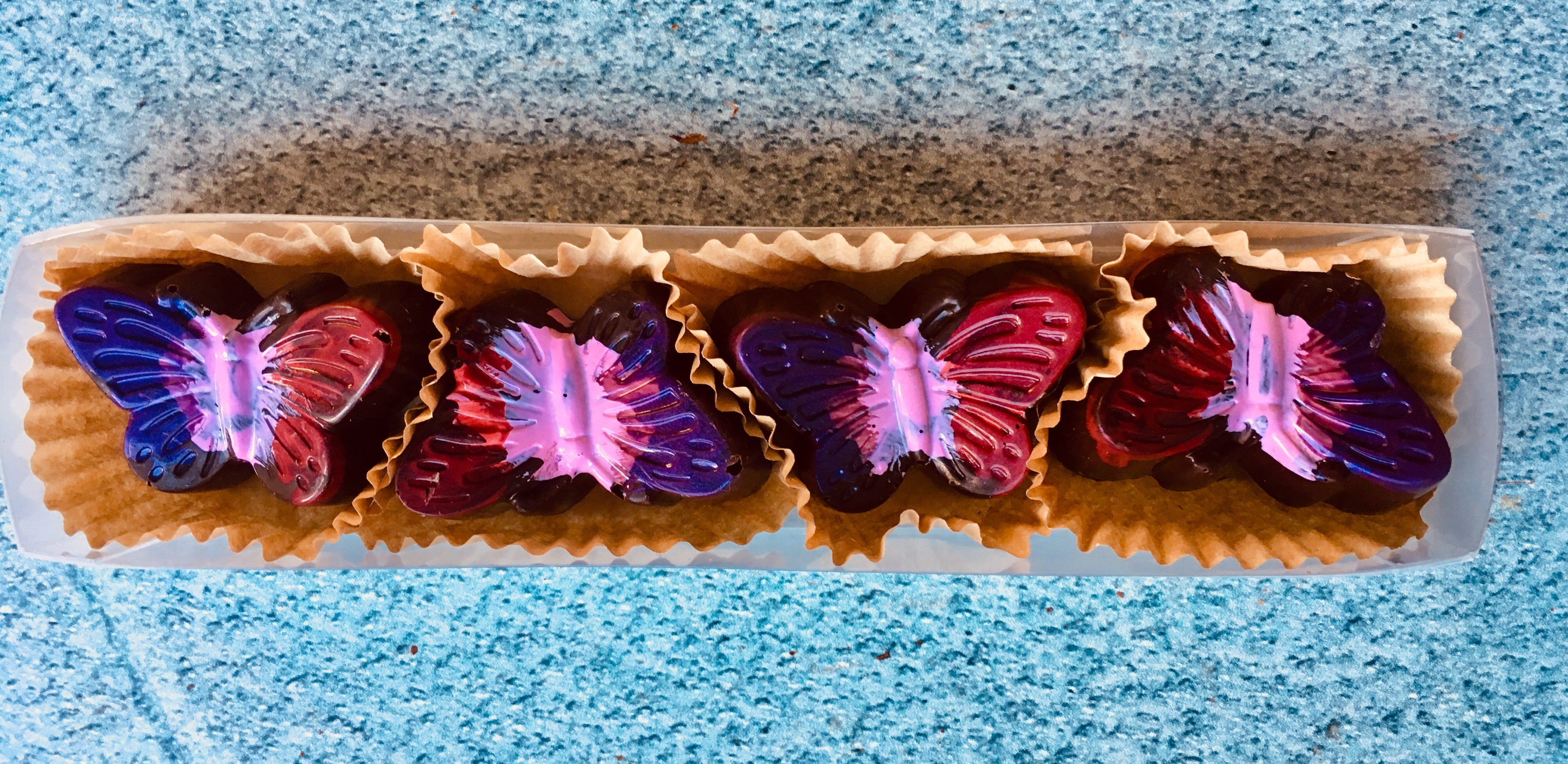 4 piece Raspberry Butterfly Bonbon Box