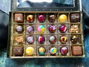 24 Piece Chocolate Assortment Box - Bonbons, Caramels, and Toffee