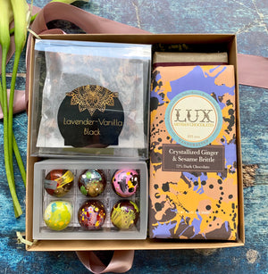 Craft Tea Sampler, Chocolate Bars, & Bonbons Gift Box