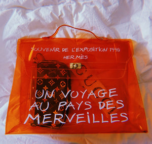 Hermes Orange Transparent Vinyl Kelly Handbag