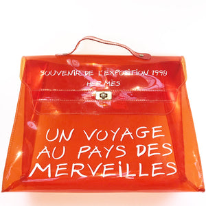 e54ce7bd0de7 Hermes Orange Transparent Vinyl Kelly Handbag