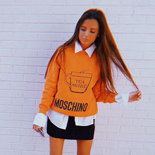 Load image into Gallery viewer, Moschino Orange Logo Crew Neck Sweater