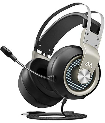 Mpow EG3 Gaming Headset, 7.1 Surround Sound Gaming Headphones, 50mm Driver, Stereo USB Computer Headset with Noise Cancelling Mic, Over Ear Soft Earmuff, LED Light, Easy Volume/Mic Control for PC, PS4 - Gamersitemshop