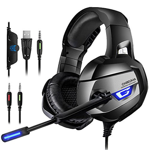 ONIKUMA Gaming Headset - for PS4, Xbox One (Adapter Need), Nintendo Switch (Audio) PC Gaming Headset with Crystal Clear Sound, LED Lights & Noise-canceling Microphone (K5-N). - Gamersitemshop