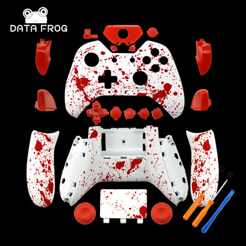 Soft Touch Red Splash  Front Shell For Xbox One S Controller - New - Model 1708 - Gamersitemshop