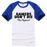 GAMERS DON'T DIE THEY RESPAWN! letter printed 100% cotton T-shirt - Gamersitemshop