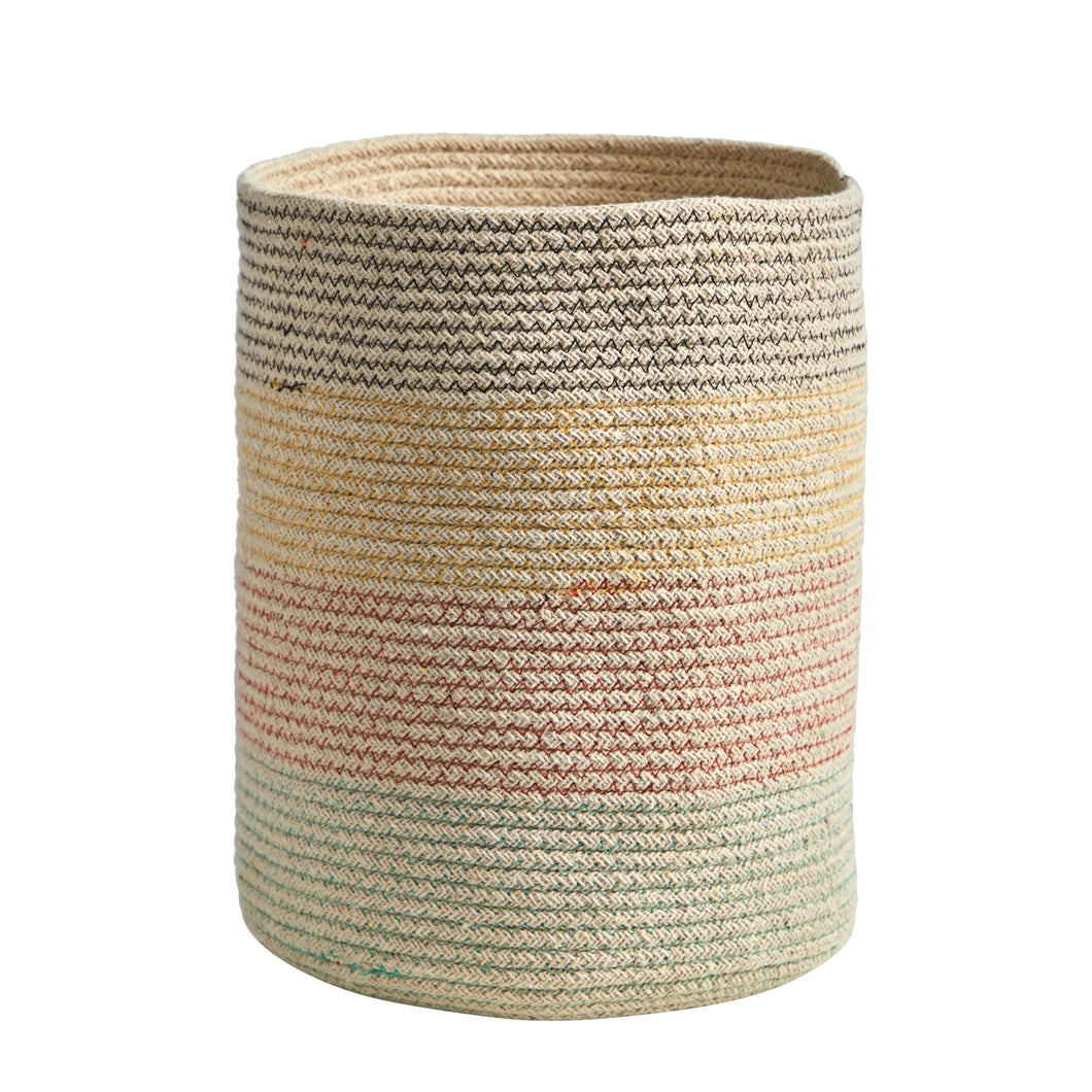 "12"" Handmade Natural Cotton Multicolored Woven Planter"
