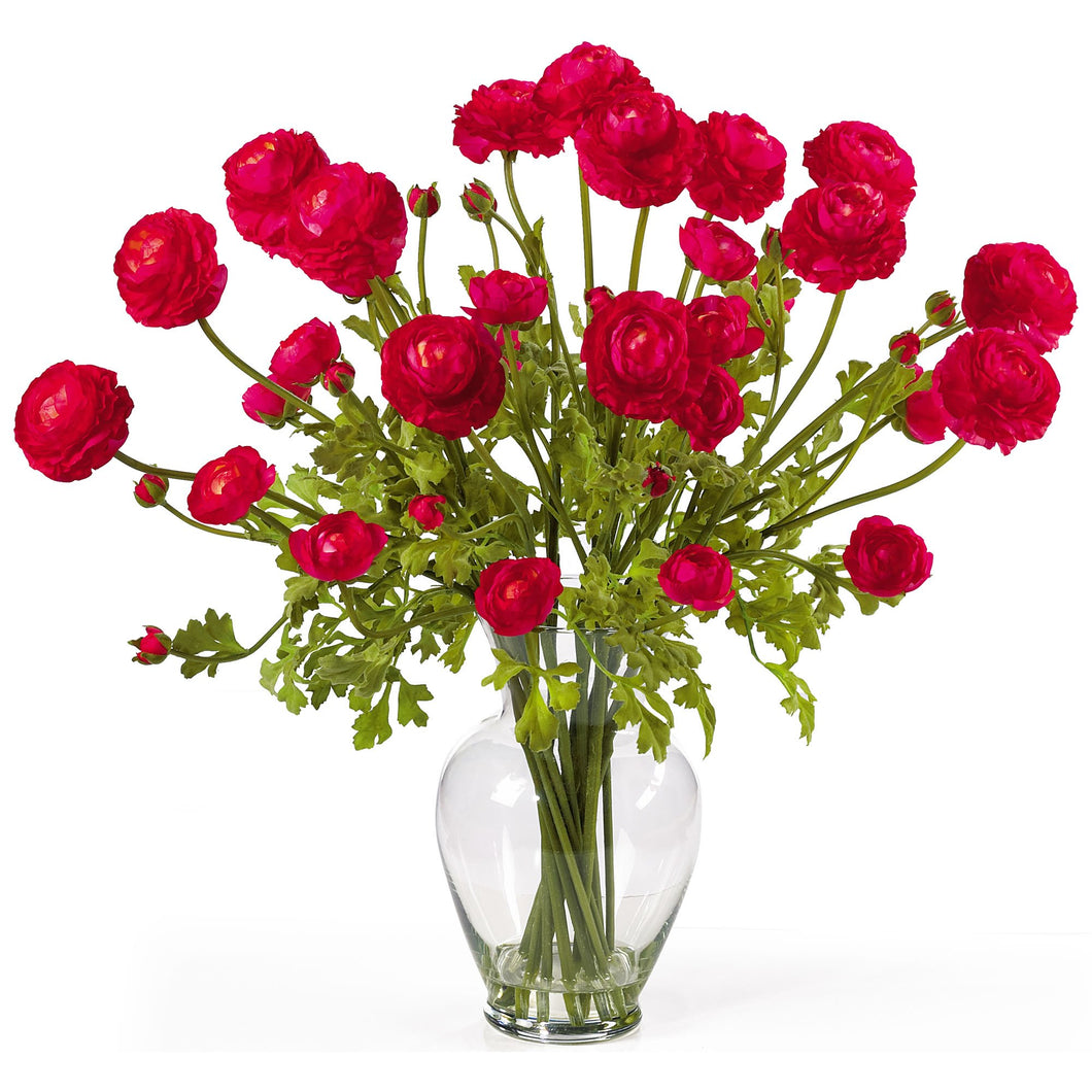 Ranunculus Liquid Illusion Silk Flower Arrangement - Red