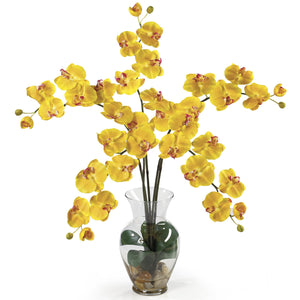 Phalaenopsis Liquid Illusion Silk Flower Arrangement - Yellow