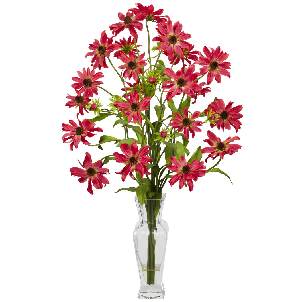 Cosmos w/Vase Silk Flower Arrangement - Red