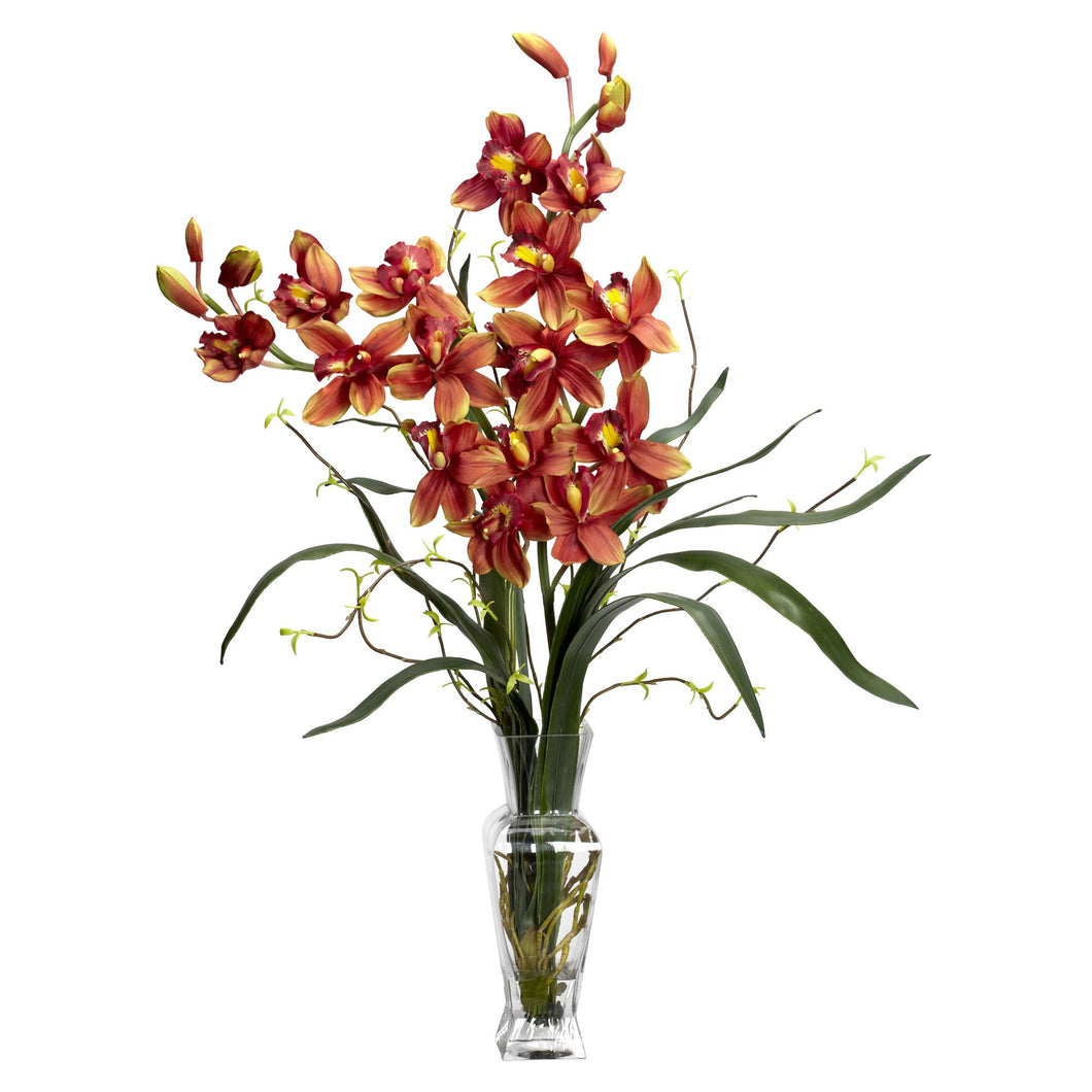 Cymbidium Silk Flower Arrangement - Burgundy