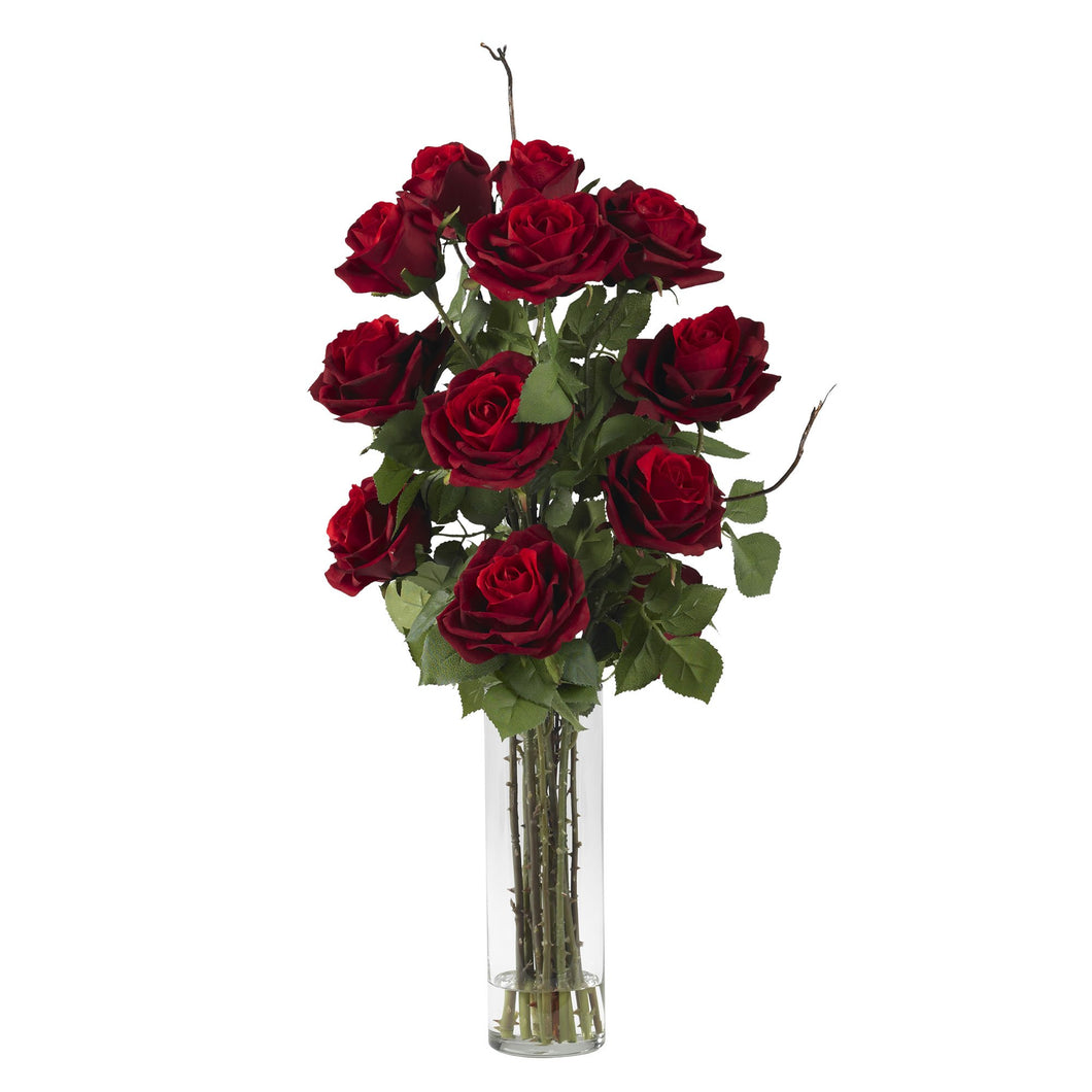 Roses w/Cylinder Vase Silk Flower Arrangement