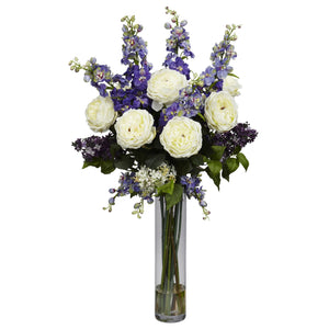 Rose, Delphinium and Lilac Silk Flower Arrangement - Purple