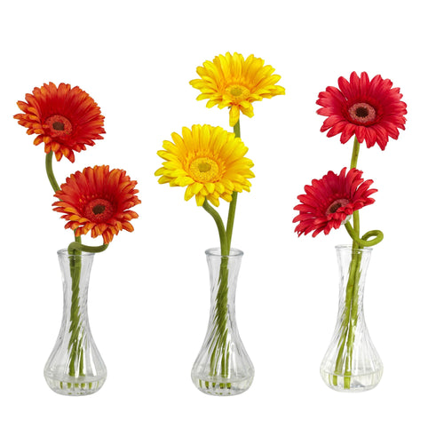 Gerber Daisy w/Bud Vase (Set of 3) - Red/Orange/Yellow