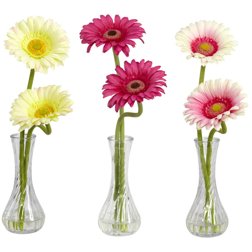 Gerber Daisy w/Bud Vase (Set of 3) - Cream/Pink/Beauty