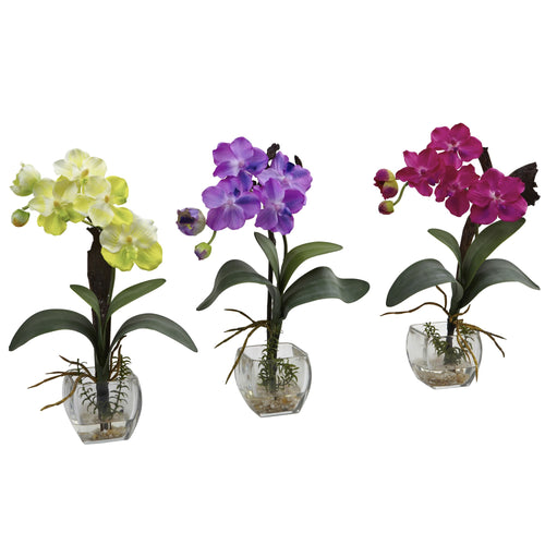 Artificial Mini Vanda Orchid Arrangement (Set of 3)