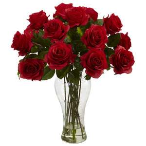 Blooming Roses w/Vase - Red