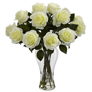Blooming Roses w/Vase - White