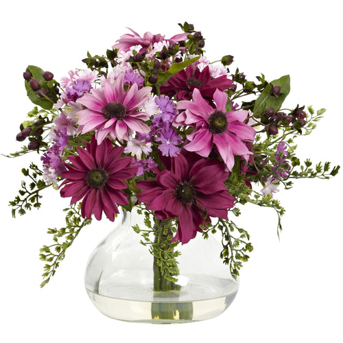 Mixed Daisy Arrangement w/Vase - Pink