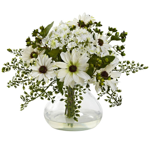 Mixed Daisy Arrangement w/Vase - White
