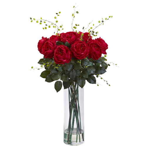 Giant Fancy Rose & Willow Arrangement - Red