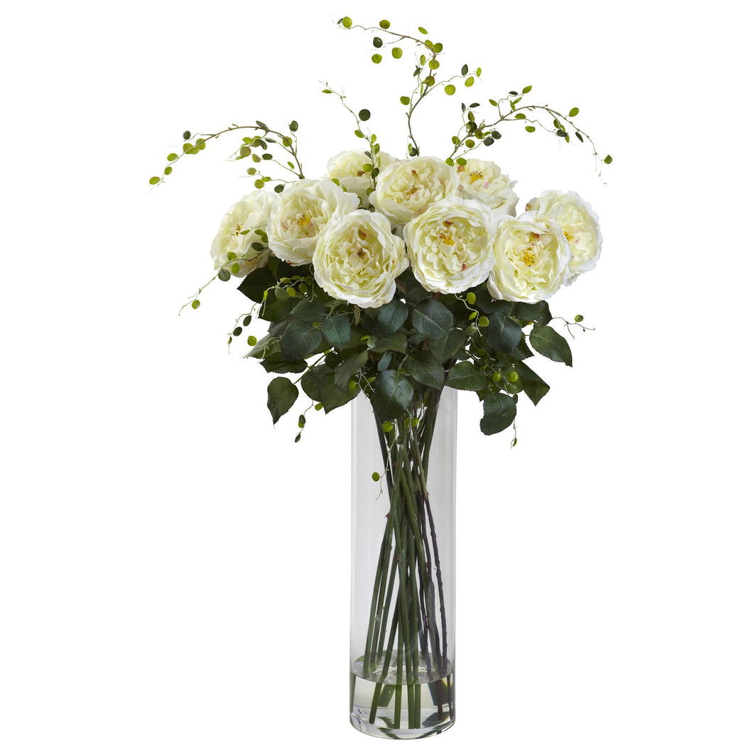 Giant Fancy Rose & Willow Arrangement - White