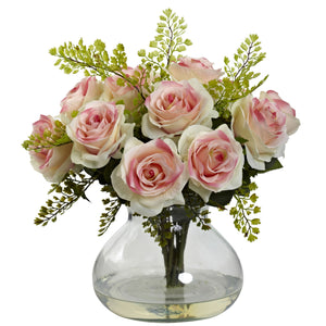 Rose & Maiden Hair Arrangement w/Vase - Light Pink