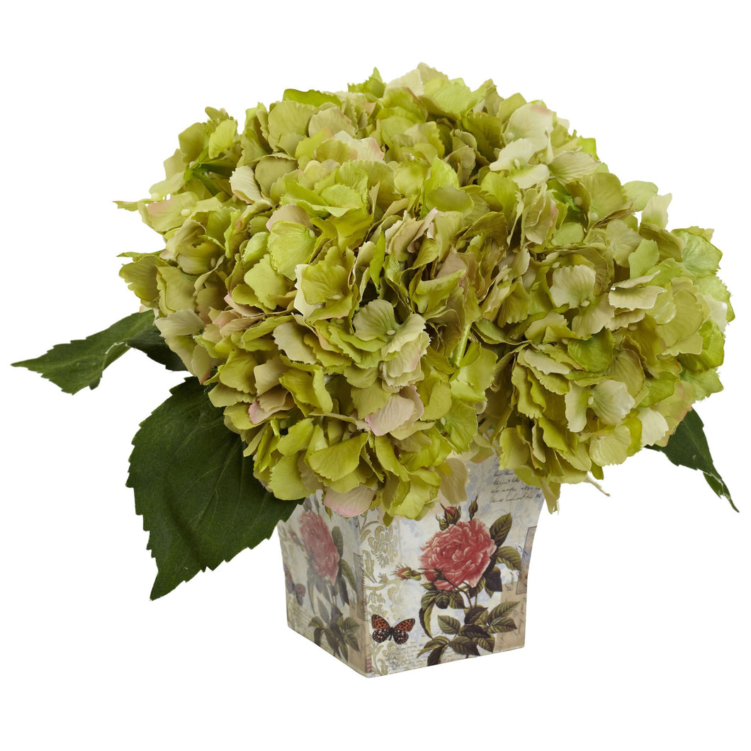 Hydrangea with Floral Planter - Green