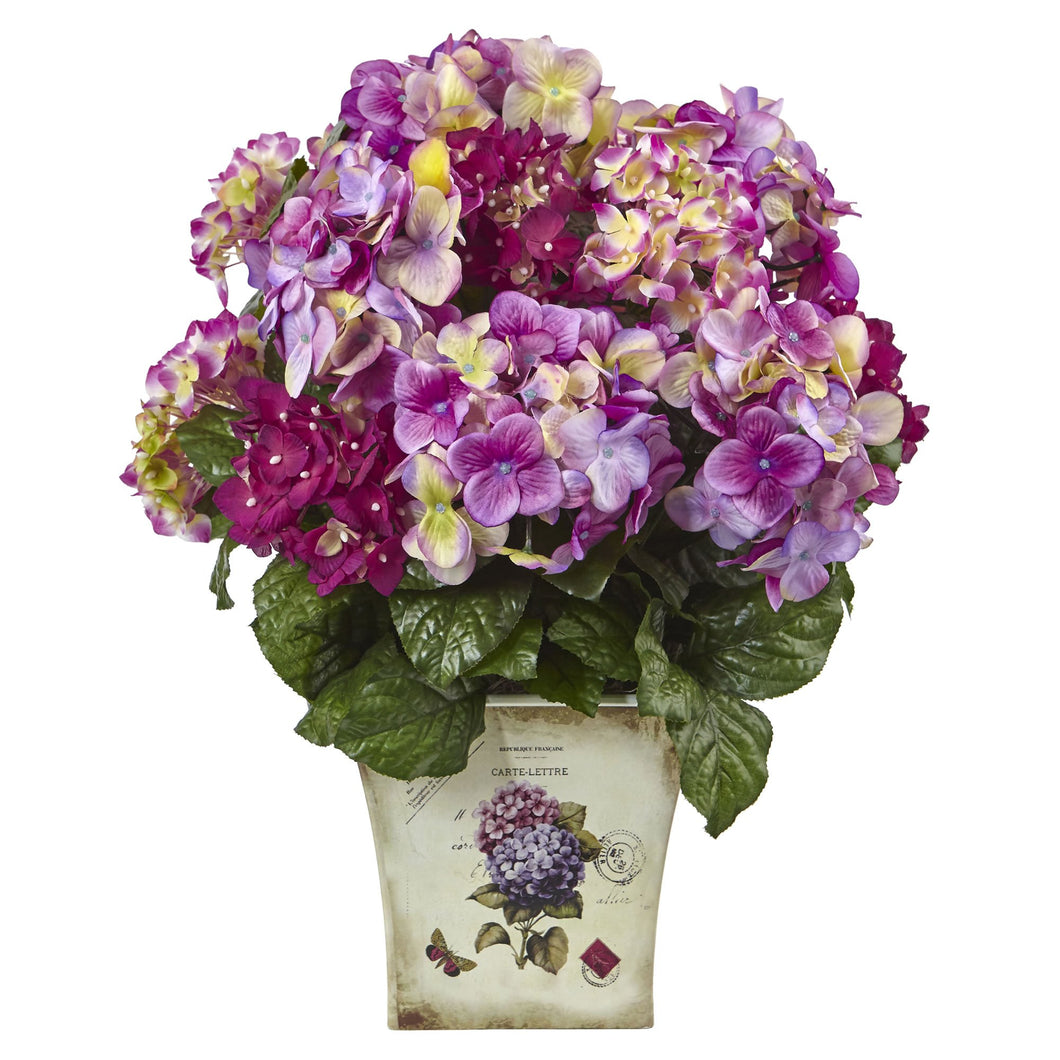 Blue, Purple, White Hydrangea w/Floral Planter