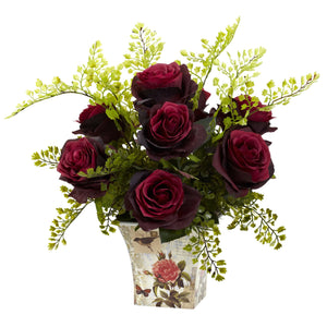 Rose & Maiden Hair w/Floral Planter - Burgundy