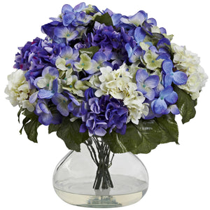 Hydrangea w/Large Vase - Blue Purple