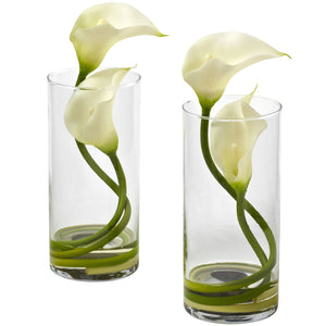 Double Calla Lily w/Cylinder (Set of 2) - Cream