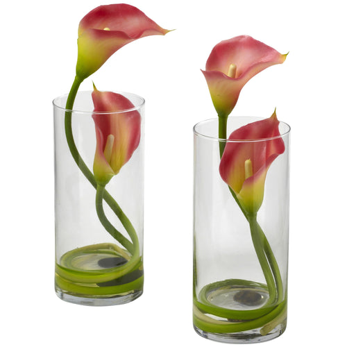 Double Calla Lily w/Cylinder (Set of 2) - Pink