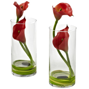 Double Calla Lily w/Cylinder (Set of 2) - Red