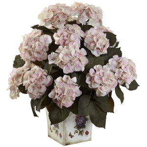 Hydrangea w/Large Floral Planter - Cream Pink