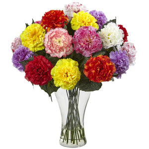 Blooming Carnation Arrangement w/Vase - Assorted Colors