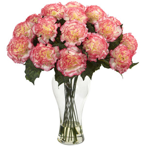 Blooming Carnation Arrangement w/Vase - Cream Pink