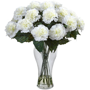 Blooming Carnation Arrangement w/Vase - Cream