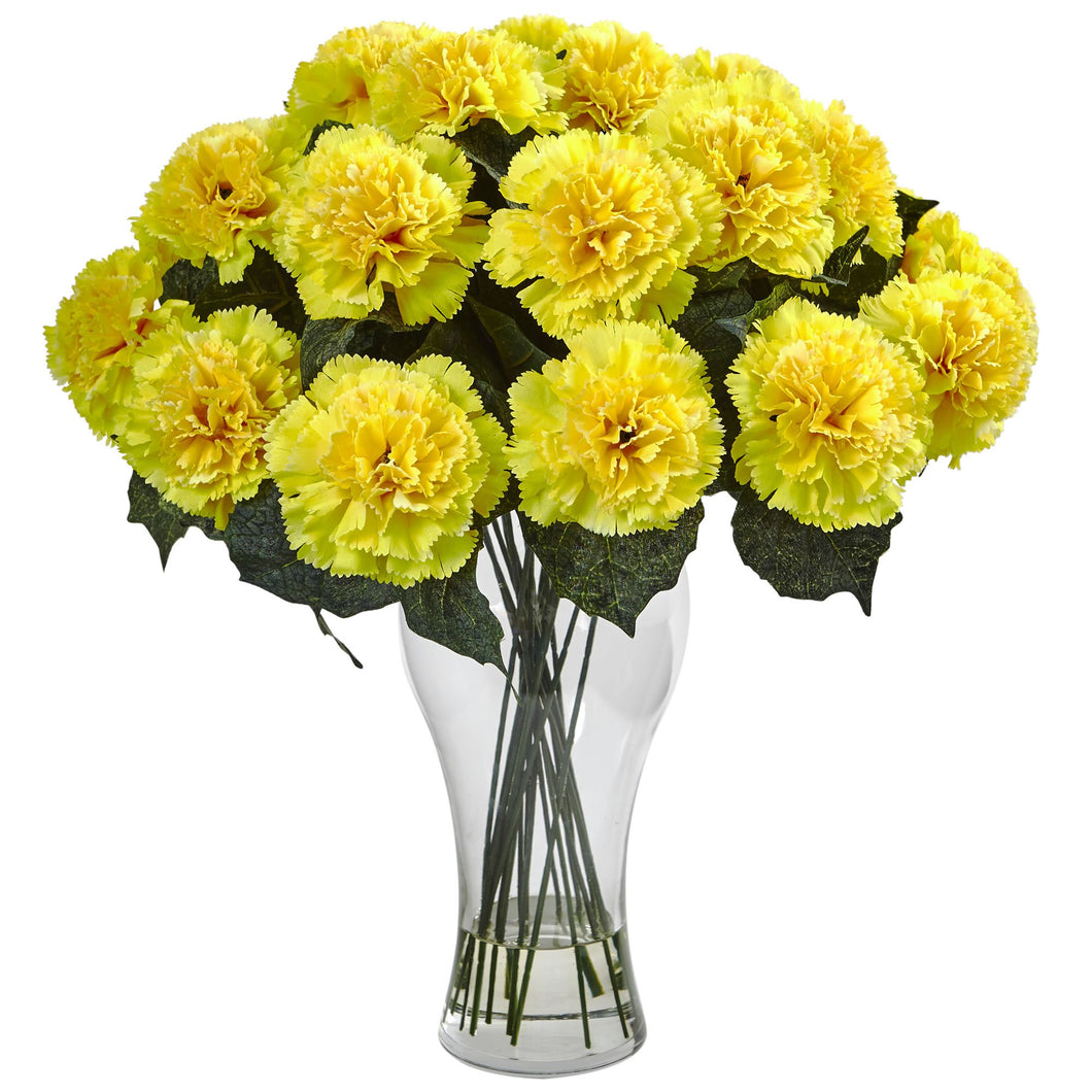 Blooming Carnation Arrangement w/Vase - Yellow